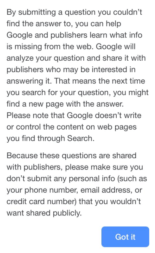 Google Explanation for Question Requirement