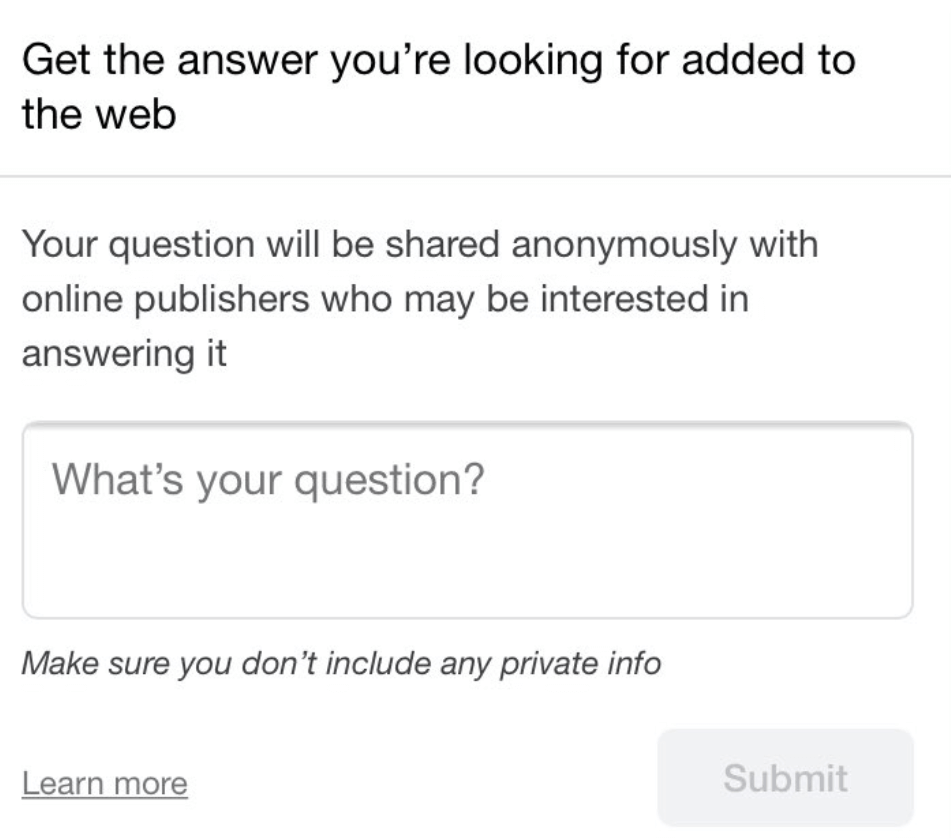 How Google wants questions from users