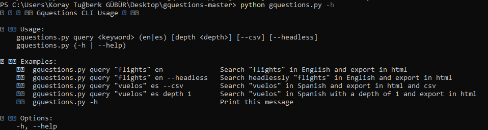 Gquestions.py -h command output