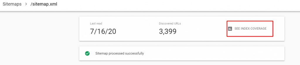 Sitemaps and Google Coverage Report