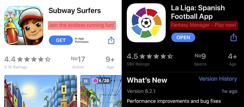 Subtitle and App Store Optimization