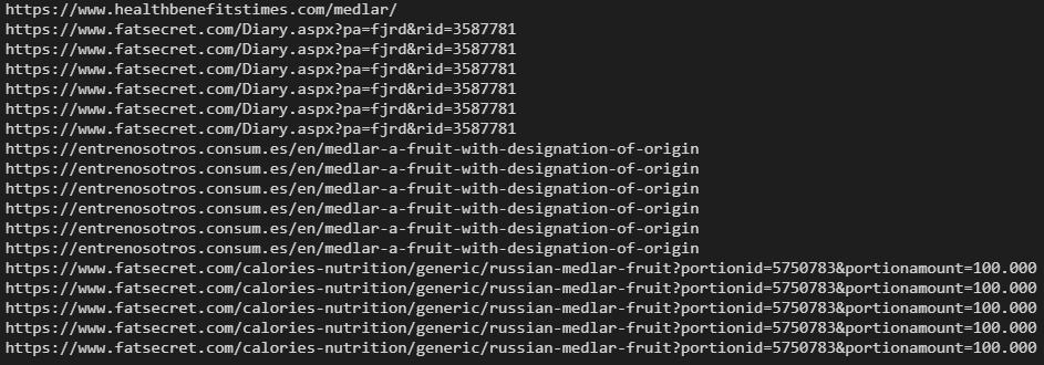 Printing domain URLs with Python