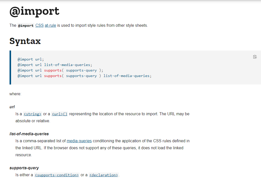 CSS Import for Fonts