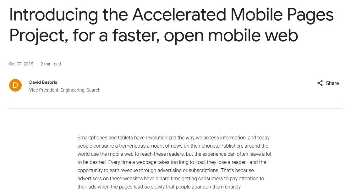 AMP Announcement of Google