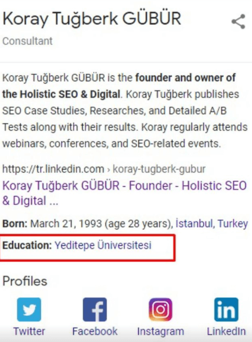 Koray Tuğberk GÜBÜR Knowledge Panel