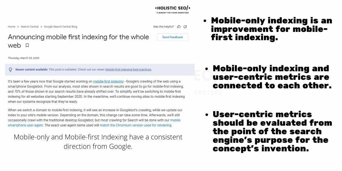 Mobile-only indexing and user-centric metrics